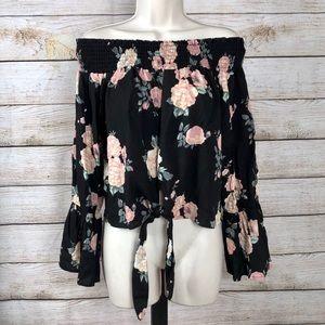 ☀️Off shoulder floral long sleeve blouse